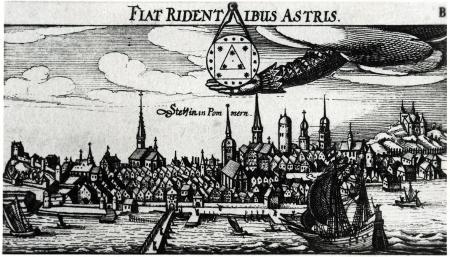 """Ten sam sztych z dodanym obok słowa Stettin """"in Pommern"""". Nr 38/39. Pochodzący z dzieła """"Politica. Daß ist Newes Emblematisches Büchlein..."""" von Daniel Meisner, Nürnberg, 1700. MNS/A.Foto/16117"""