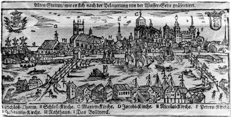 Stary Szczecin widziany od strony wody po oblężeniu Drzeworyt z początku XVIII w. 7,6 x 15cm. MNS/A.Foto/13735