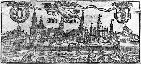 Stary Szczecin / to samo ujęcie z prawego brzegu Odry. Drzeworyt z początku XVIII w. 6,7 x 15 cm. MNS/A.Foto/13736