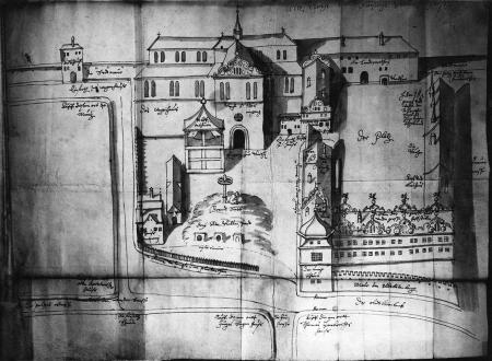 Zamek szczeciński z dawnym kościołem św. Ottona przed 1577 r. z lotu ptaka. Lawowany rysunek piórem. 44,3 x 57,5cm. MNS/A.Foto/13677