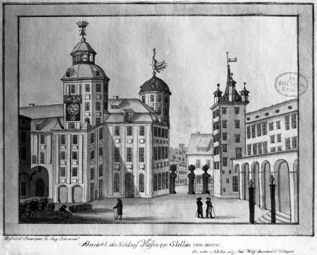 Widok zamku w Szczecinie od strony dziedzińca. Friedrich August Scheureck, akwaforta kolorowana, ok. 1790 r., 15,5 x 21cm. MNS/A.Foto/5278