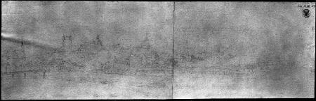 Widok zamku od północnego wschodu. Karl Friedrich Schinkel (1781 – 1841), Studium ołówkowe. 14,4 x 47cm. MNS/A.Foto/5036 B