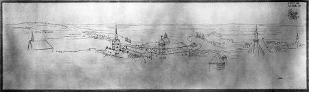 Widok (z wieży kościoła św. Jakuba ?) na zamek. Karl Friedrich Schinkel (1781 – 1841), Rysunek piórem. 18 x 63cm. MNS/A.Foto/5276