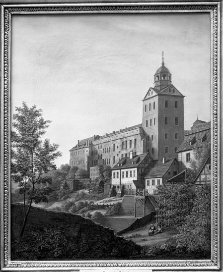 Zamek widziany od północnego zachodu w roku 1828. Obraz Ludwiga Mosta. Sygn.: L.M. 1828. 44 x 35,5cm. MNS/A.Foto/5279
