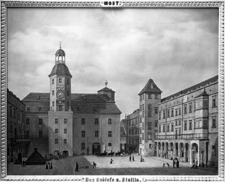 Dziedziniec zamkowy z widokiem Wieży Zegarowej. Obraz Ludwiga Mosta (1828). 47,5 x 59cm. MNS/A.Foto/5297