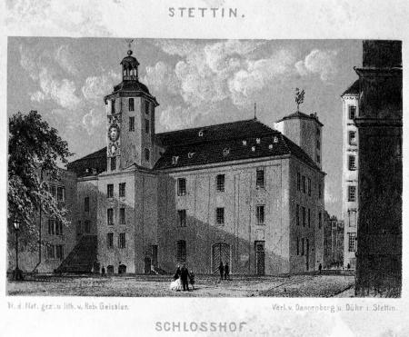 Dziedziniec zamkowy z widokiem wieży zegarowej. Robert Geissler (1819-1893), litografia z 1869 r. MNS/A.Foto/5302A