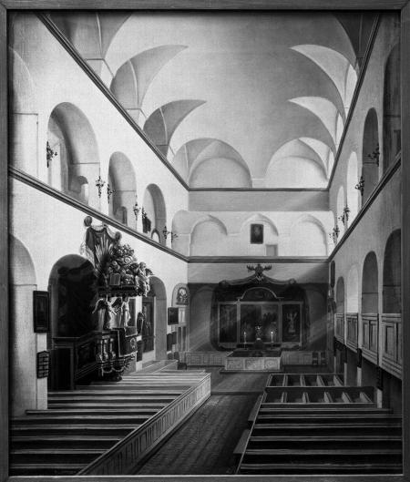 Wnętrze kościoła zamkowego. Obraz z roku 1861 Ludwiga Mosta. 45 x 38cm. MNS/A.Foto/5259
